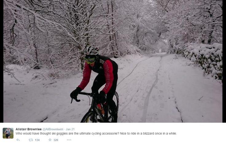 Cycle / bike training in the snow - Alistair Brownlee triathlon
