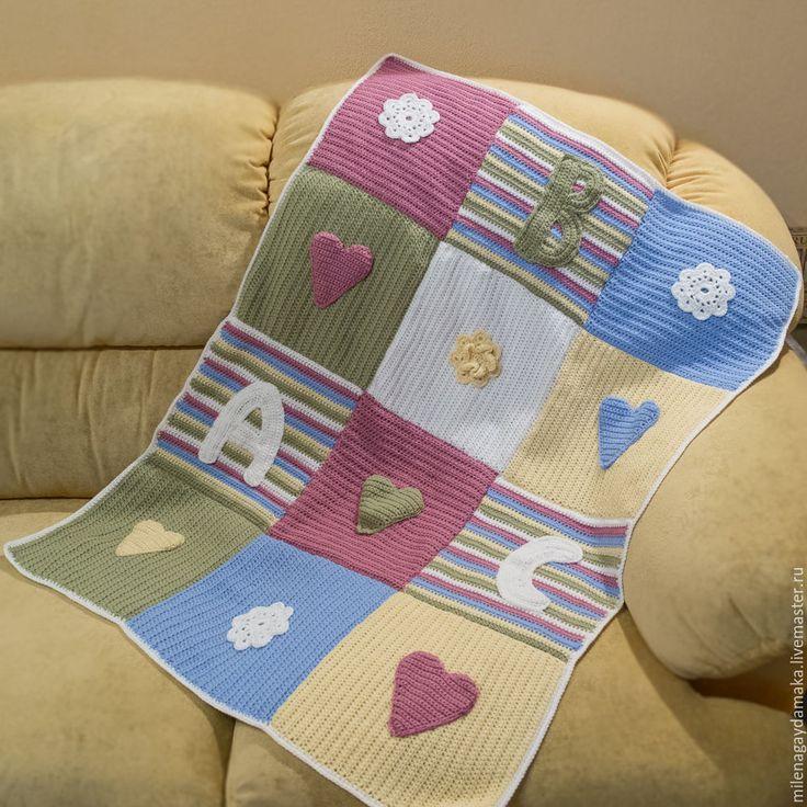 """Купить Детский плед """"ABC"""" - разноцветный, детский плед крючком, детское одеяло, одеяло для новорожденного"""