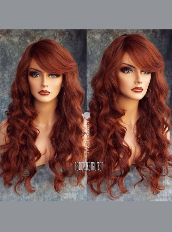 Rust red Sexy side Bangs Human Hair Lace Front Wig - Angel