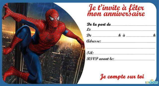 Invitation spiderman escaladant un gratte-ciel à imprimer gratuitement. Disponible au format pdf en haute résolution.  Télécharger Invitation spiderman