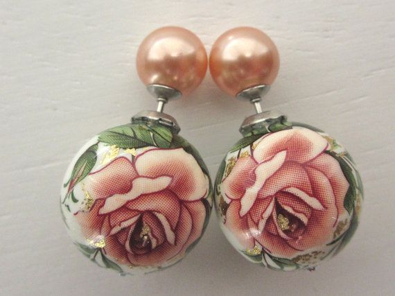 English Rose Pearl Tribal Double Sided Earring by RelampagoStudio