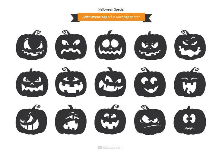 Halloween: Schnitzvorlagen für Gruselkürbisse (http://magazin.sofatutor.com/eltern) Kürbisschnitzen / Halloweenkürbis