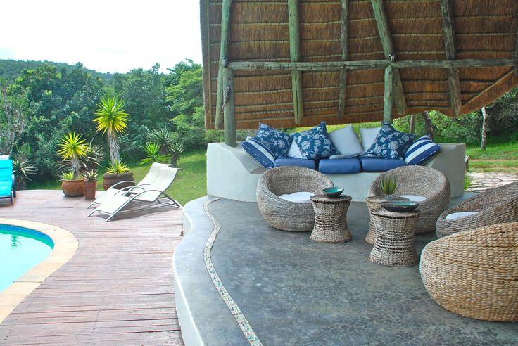Sibuya Game Reserve Bush Lodge swimming pool lounge area. Kenton on Sea, Eastern Cape, South Africa www.sibuya.co.za