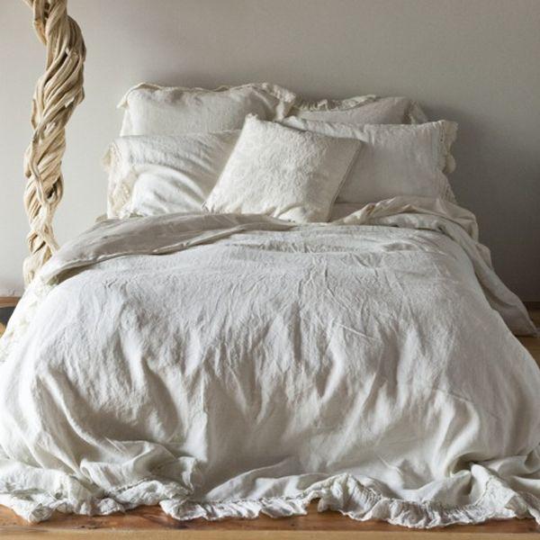 White Linen Duvet Cover Queen
