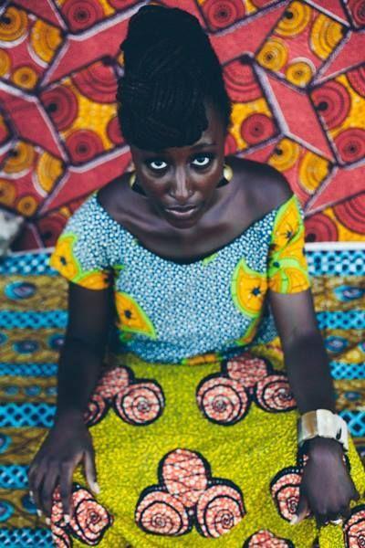 African wax resist dyed fabric/batik
