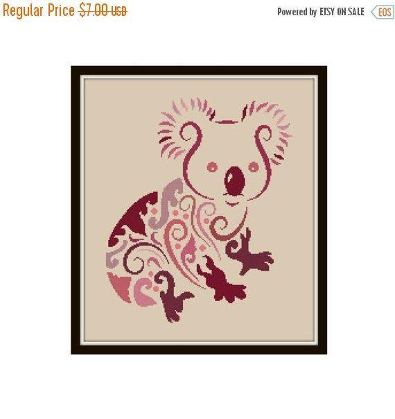 Koala cross stitch pattern modern
