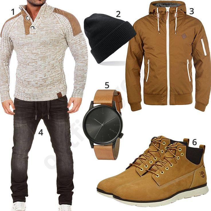 Herren-Style mit Tazzio Strickpullover, Beechfield Mütze, Solid Tilly Übergangsjacke, schwarzer Wotega Jeans, Komono Armbanduhr und Timberland Schuhen.