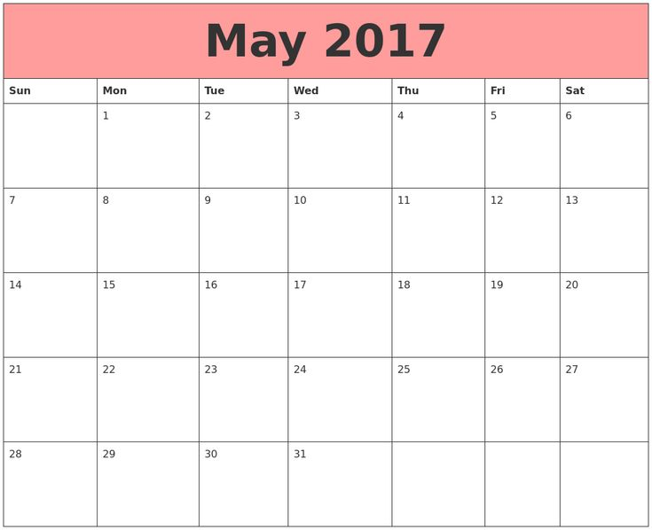 May 2017 Calendar Template May 2017 Calendar Pinterest - sample quarterly calendar templates