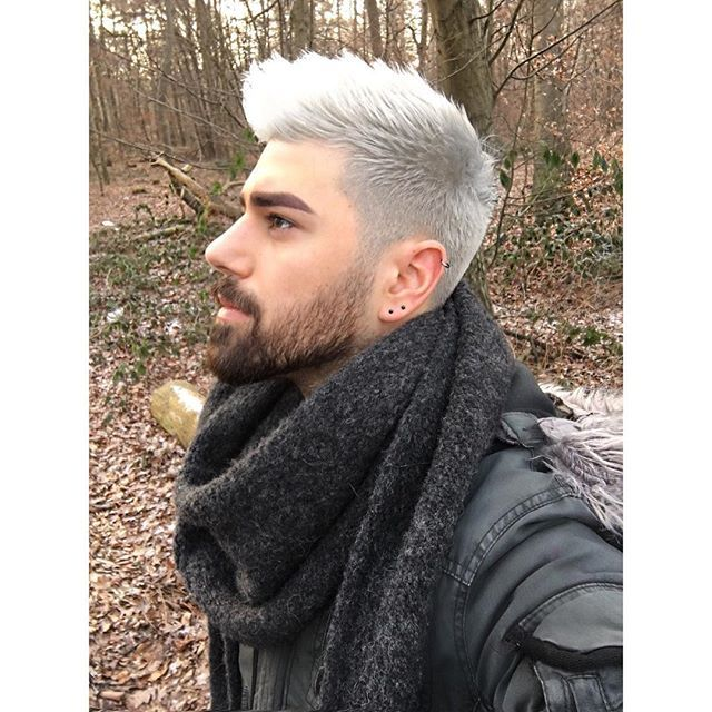 Silver haired gay man