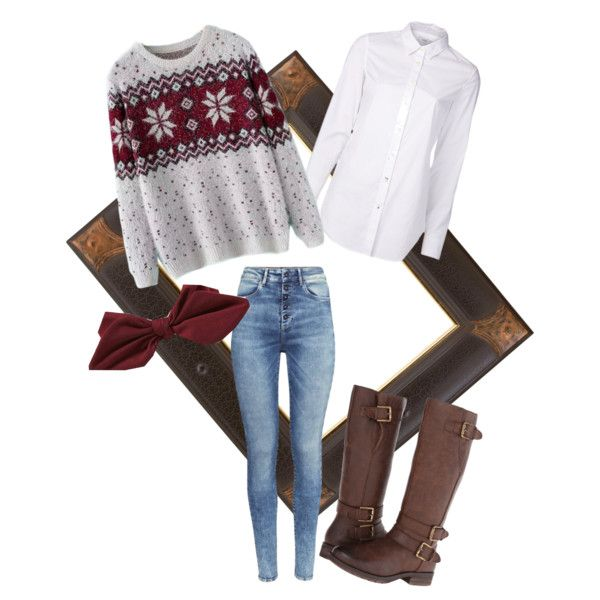 Winter Casual by kathrinstuff on Polyvore featuring Closed, Chicnova Fashion, H&M, Naturalizer, American Eagle Outfitters, Winter, casual, warm and cottage