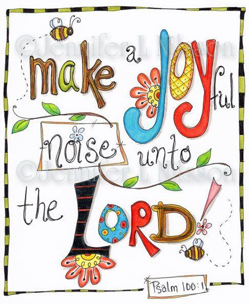 Christian Scripture Art, Original Colored Pencil Drawing, Joyful Noise