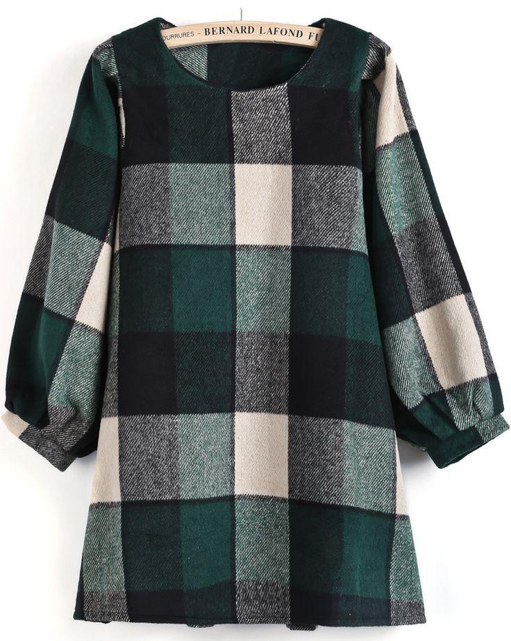 Vestido cuadros suelto manga larga-Verde EUR€26.66