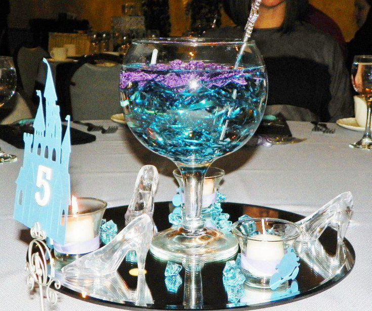 My Cinderella Wedding Centerpieces. I Wrapped The Votives With A Purple  Ring And Attached A