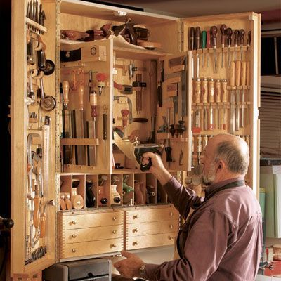 """""""Quick-to-Make Tool Cabinet"""" FREE Project Plan from finewoodworking.com. Maybe someday..."""