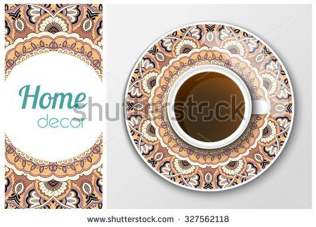 Vector cup with coffee, invitation, plate, pattern, home decor