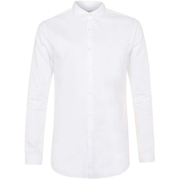 TOPMAN Premium White Penny Collar Smart Shirt ($47) ❤ liked on Polyvore featuring men's fashion, men's clothing, men's shirts, men's dress shirts, men, tops, white, mens tailored shirts, mens slim fit white shirt and mens slim shirts