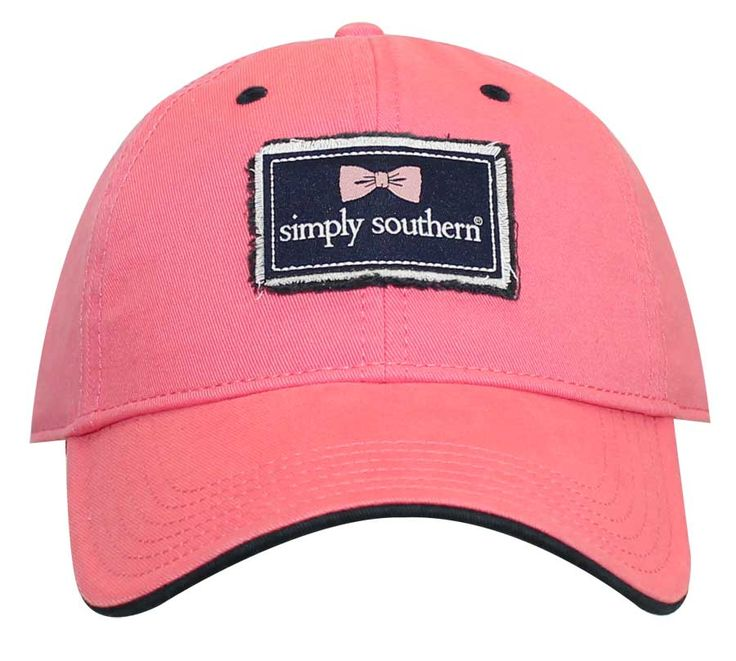 Simply Southern Preppy Collection Hat with Frayed Logo Patch in Pink HAT-FRAYED-PINK