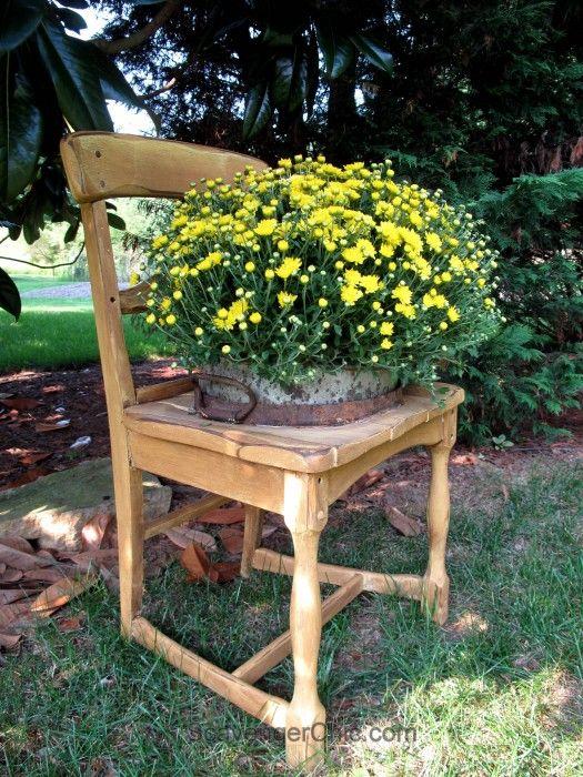 One free broken down chair gets a new life as a garden for Garden separator