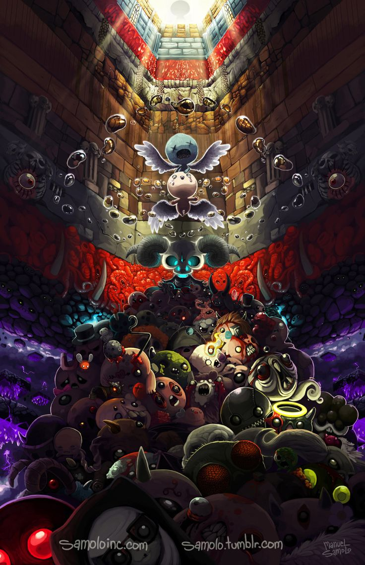 "samolo: "" ""….and threw himself down into the unknown depths below…"" The Binding of Isaac: Rebirth This is one of the painting that I have put more time into, because I couldn't stop adding stuff. This..."