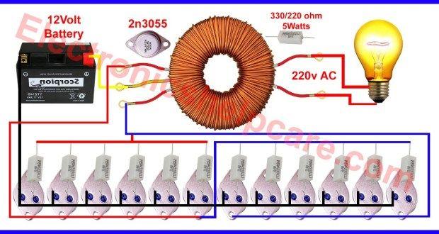 How To Make Inverter 12v Dc To 220v Ac Making Circuit Diagram Making Transformer Elect Electronic Circuit Projects Circuit Diagram Electronic Circuit Design