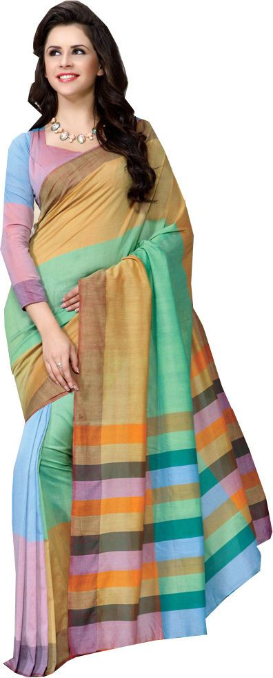 Multicolor Causal Wear Saree Printed Work Cotton Designer Sari #SareeStudio #SareeSari #CausalWear