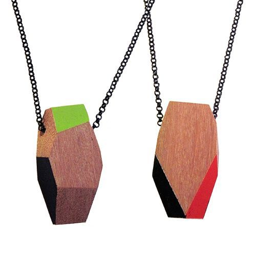 Recycled wood necklaces by TreeHorn Design.