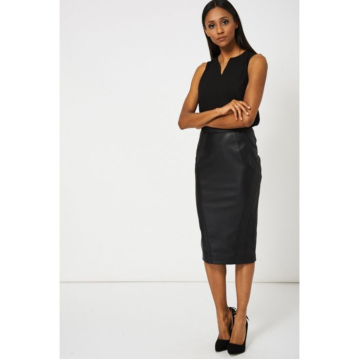 Black Faux Leather Pencil Skirt With Snake Effect Detail Ex-branded-black-6