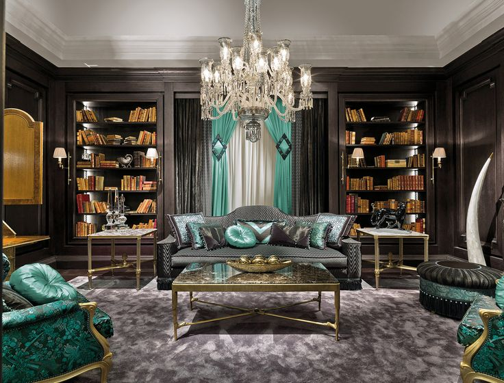 Striking and vibrant luxury interior design with emerald green upholstery and accessories against black walls with gold trim - The beautiful Italian furniture designs of Provasi, combining traditional and contemporary style to produce iconic works or art. Showcasing at Salon del Mobile, Milan