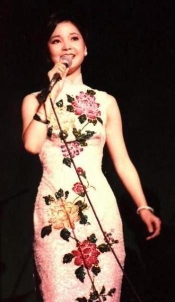 Teresa Teng in white qipao