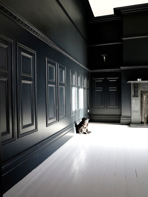 47 park avenue farrow ball off black painted paneling with farrow and ball great white. Black Bedroom Furniture Sets. Home Design Ideas