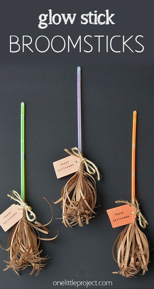 Fall Crafts for Kids - Glow Stick Broomsticks