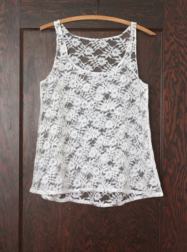Love Lace. :) Adjust length, make with stretchy lace, and voila! A great tank for layering. ~Would go great with a cardi.