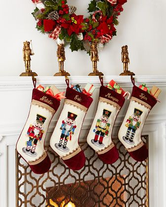 Nutcracker Needlepoint Christmas Stockings by Peking Handicraft at Horchow. Color inspiration