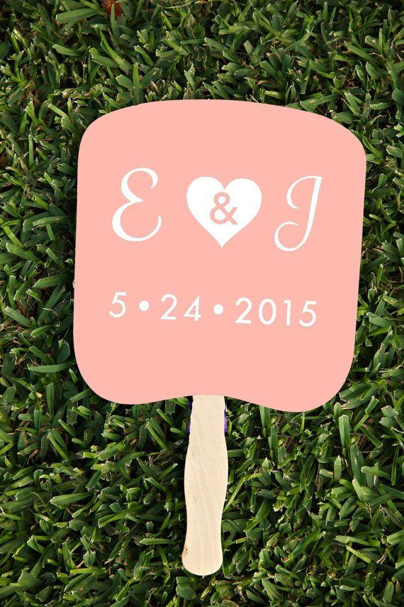 Blush Monogram Wedding Program Fans  Any color custom by TheBourne