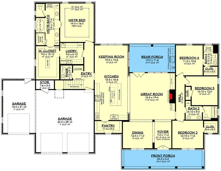 Plan 51816HZ: Modern Farmhouse Plan with 3-Car Front-entry Garage and Bonus Room