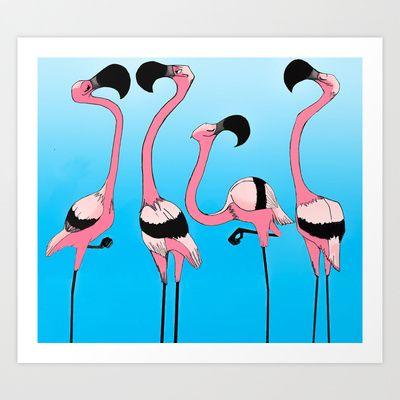 Flamingo Art Print - $15.60  http://society6.com/product/flamingos-6mw_print#1=45