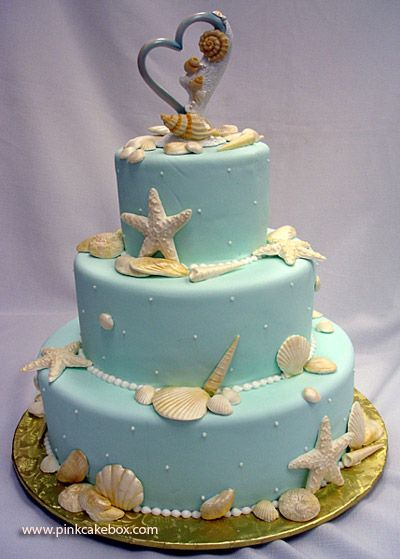 Beach Themed Wedding Cake by Pink Cake Box in Denville, NJ.  More photos at http://blog.pinkcakebox.com/beach-themed-wedding-cake-2007-08-19.htm  #cakes