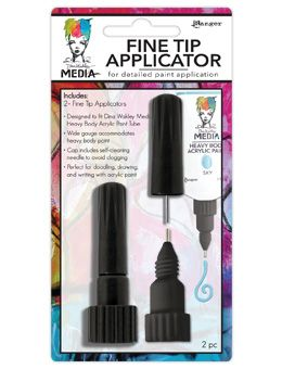The new Dina Wakley Media Fine Tip Applicator is an essential accessory for the mixed media artists toolbox. Specially designed to fit the Dina Wakley Media paint tube, this unique tool is ideal for drawing, doodling and writing with Media Heavy Body Acrylic Paints. • Fine Tip applicator fits all 2 oz. Media Acrylic Paint tubes • Wide gauge to accommodate heavy body paint • For doodling, drawing, writing • Cap includes self-cleaning needle