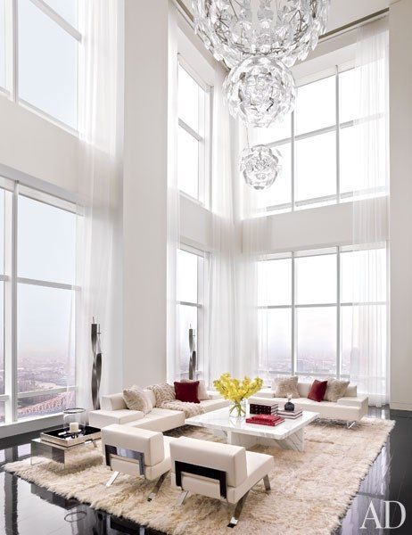 The double-height living room of a Manhattan apartment by ODA-Architecture: Living Rooms, Window Shades, Interiors Design, High Ceilings, Oda Architecture, New York, Newyork, Architecture Digest, York Penthouses