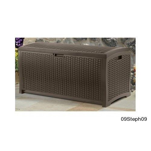 Suncast Mocha Wicker Resin Deck Box 99 Gallon Storage Dry Container Outdoor  Seat