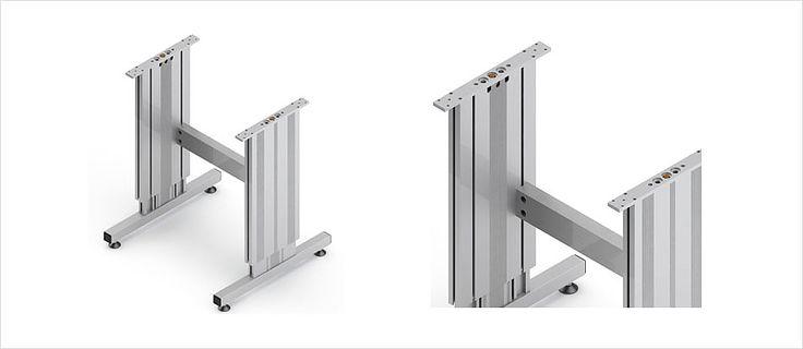 Höhenverstellbare Tischuntergestell TT mit Bein, Quertraverse und Füssen – Ergoswiss AG