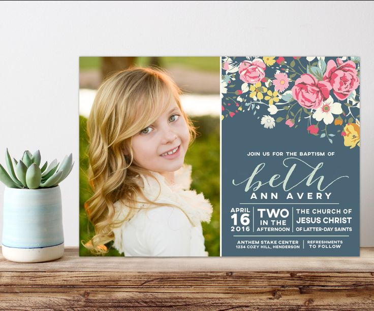 lds baptism invitation, girl baptism invitation, printable baptism announcement - vintage floral announcement by westwillow on Etsy https://www.etsy.com/listing/263930764/lds-baptism-invitation-girl-baptism