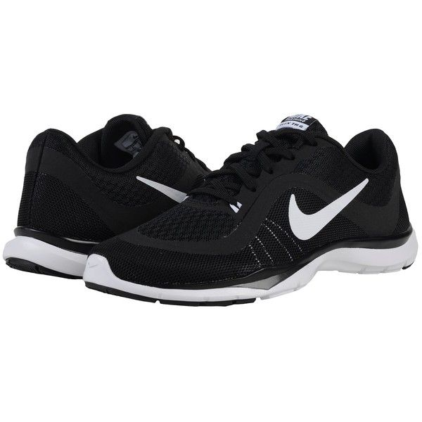 Nike Flex Trainer 6 (Black/White) Women's Cross Training Shoes (£43) ❤ liked on Polyvore featuring shoes, athletic shoes, mesh shoes, breathable shoes, breathable mesh shoes, print shoes and black white shoes