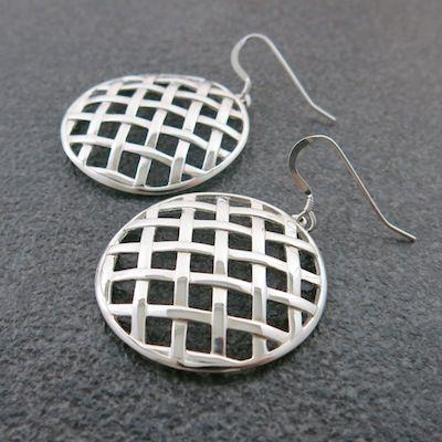 Weave Large Ball Hollow Earrings in Sterling Silver.