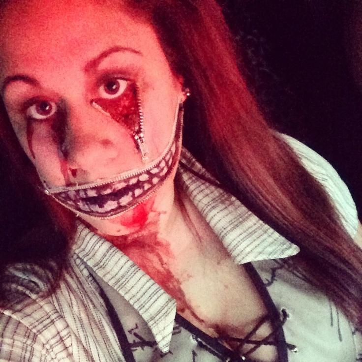 Zipper face costume #Halloween #Makeup #halloweenmakeup