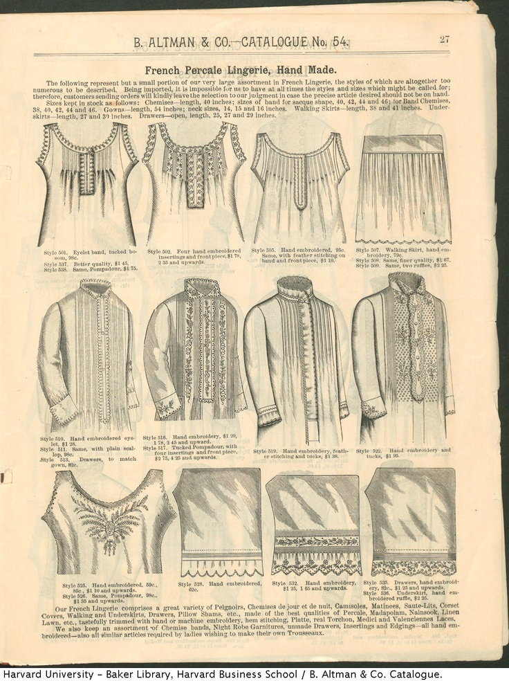 French Percale Lingerie from the 1886-87 Winter Catalogue from B. Altman & Co.