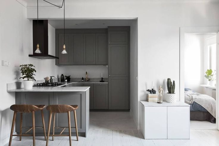 Cozy small gray kitchen- via Coco Lapine Design