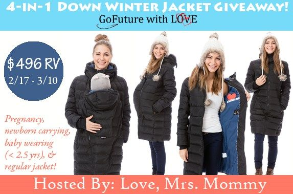 Keep yourself warm with winter women's jackets. A 4-in-1 down winter jacket can be worn to carry your baby too. Enter giveaway to win a lightweight jacket.