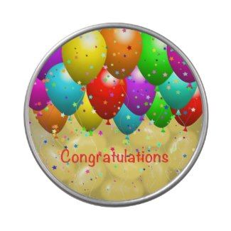 """Congratulations Balloons Jelly Belly Candy Tins  Congratulations Balloons Jelly Belly™ Candy Tin. Nothing says """"celebrate"""" with balloons. Change the color of the text or even change the text itself to """"Happy Birthday"""" or the recipient's name. You can even change the color and make it really special. The options are endless, so have fun!  #congratulations #balloons #JellyBelly #candy #tins #RedBalloons #YellowBalloons #PurpleBalloons #party #Anniversaries #Weddings #Retirement #Graduations"""