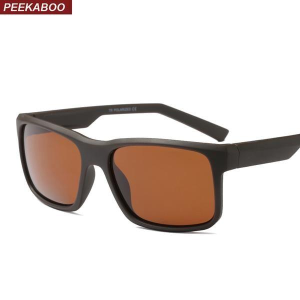 #DealOfTheDay #FASHION #NEW Peekaboo matte black square sunglasses men polarized uv400 TR90 brown polarized sun glasses for men 2018 with…